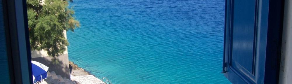 Window View Blue Shutters Greece Wide Resolution