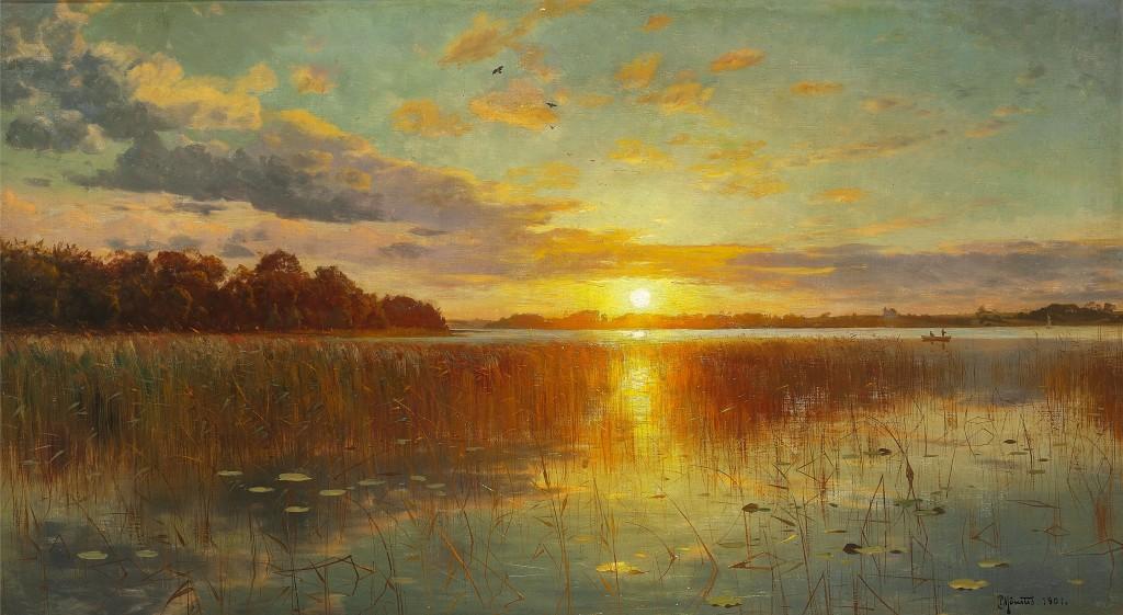 SUNSET OVER A DANISH FIORD - PEDER MORK MONSTED